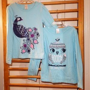 2 Gymboree LS Tops Girls 8 Peacock Owl Blue Birds